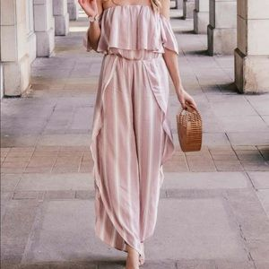 American Eagle Pink and White Jumpsuit